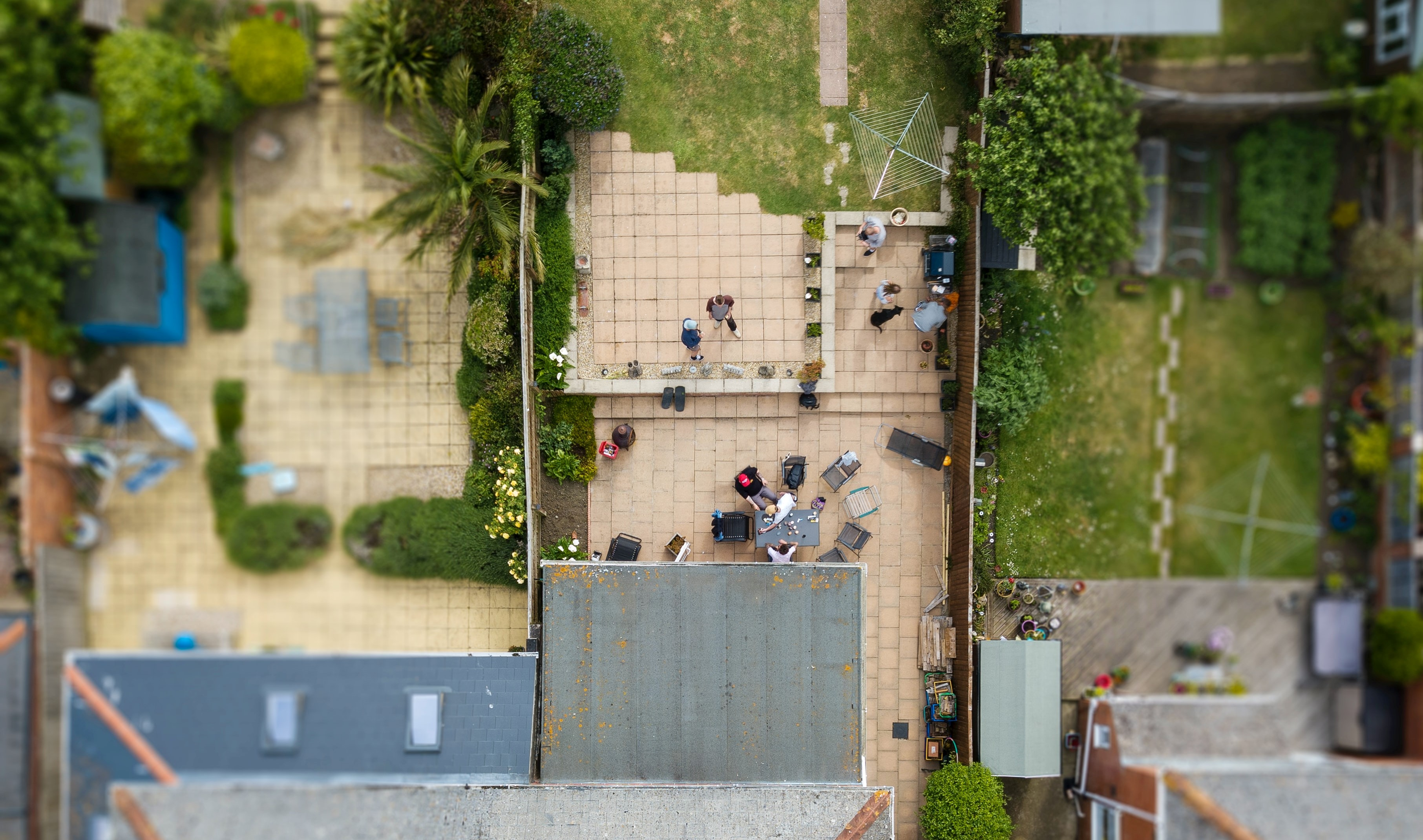 Aerial view of family BBQ