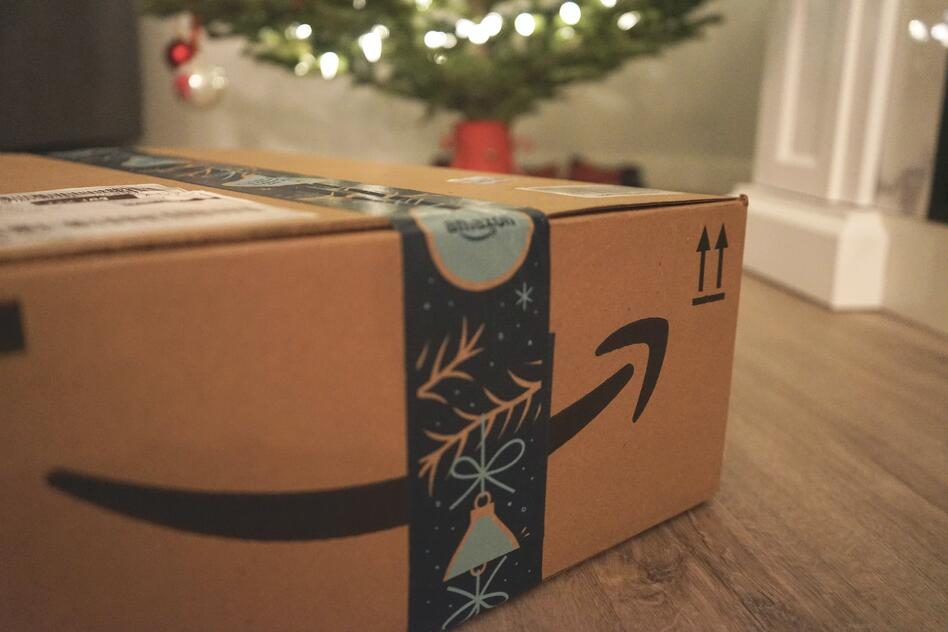 amazon package under a christmas tree
