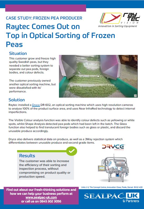 Raytec Comes Out on Top in Optical Sorting of Frozen Peas case study preview image