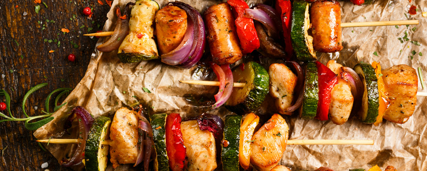 BBQ veg and meat skewers